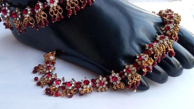 "Red Anklet Bridal Wedding Gold Tone 10-11"" Kundan"