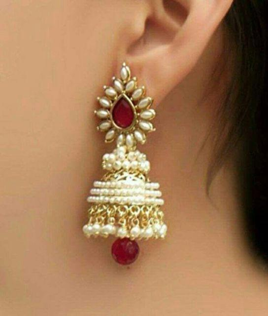 Gold Tone Maroon Earrings Jhumki Pearl Bridal Indian Fashion