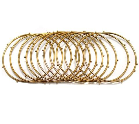 Beadsnfashion Golden Alloy Dotted Bangles set For Girls, Pack Of 12 Bangles, Size 2.4