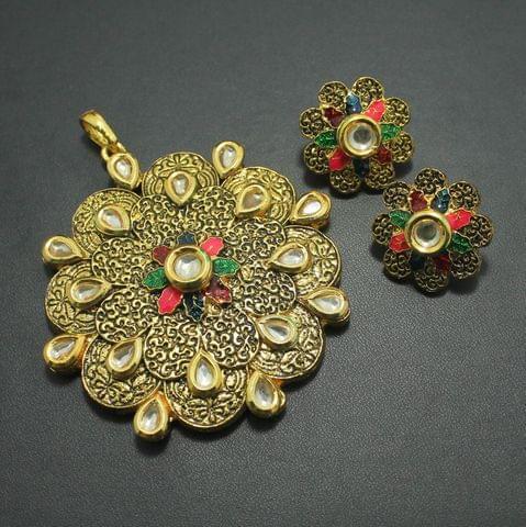 Kundan Meena Pendant and Earrings Set, Size-7x7cm
