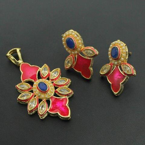 Pink Kundan Pendant and Earrings Set, Size-5x3cm