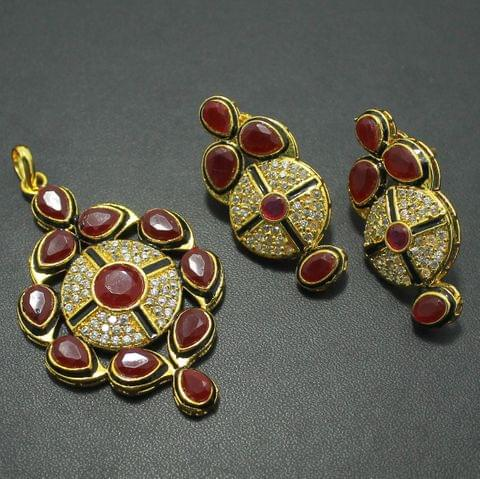 Red Kundan Pendant and Earrings Set, Size-5x3cm