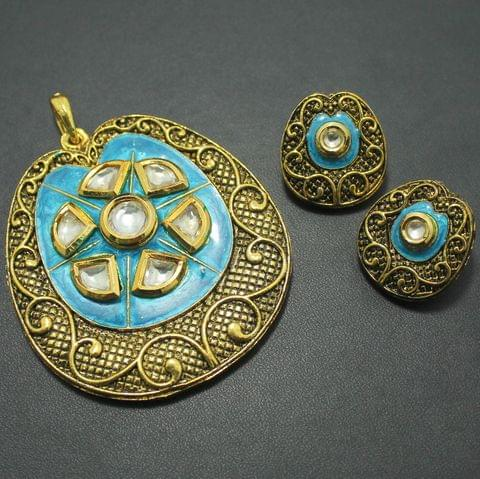 German Silver Kundan Pendant and Earring Set, Size-6x5.5cm