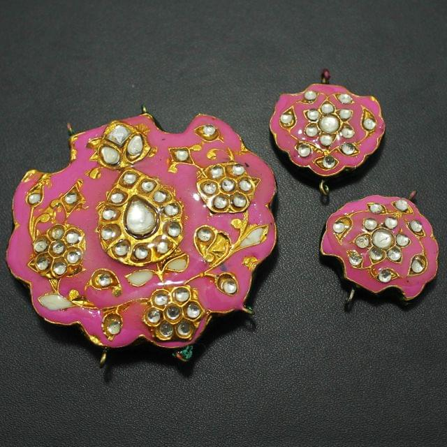 Pink Kundan Pendant and Earring Set 5x5.5cm