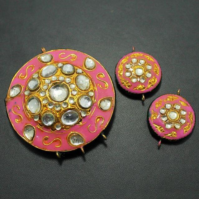 Pink Kundan Pendant and Earring Set 5x5cm