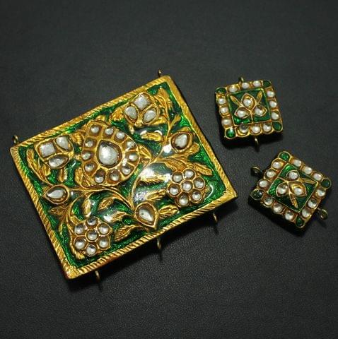 Green Kundan Pendant and Earring Set 4x5cm