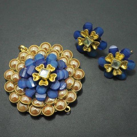 Blue Takkar Work Pendant and Earring Set 5x5cm