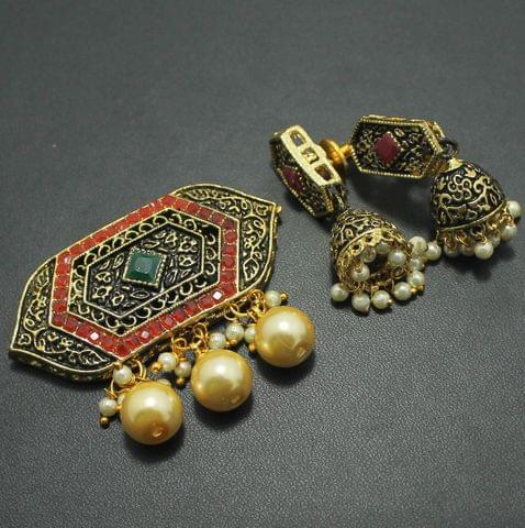 German Silver Kundan Pendant and Earring Set 4x5cm