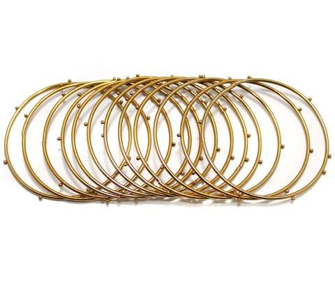 Beadsnfashion Golden Alloy Dotted Bangles set For Girls, Pack Of 12 Bangles, Size 2.8