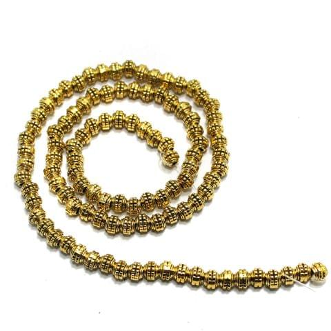 2 String German Silver Golden Beads 3x3mm
