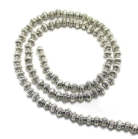 2 String German Silver Beads Silver 4x5mm