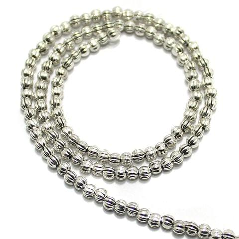 2 String German Silver Beads Silver 3x3mm
