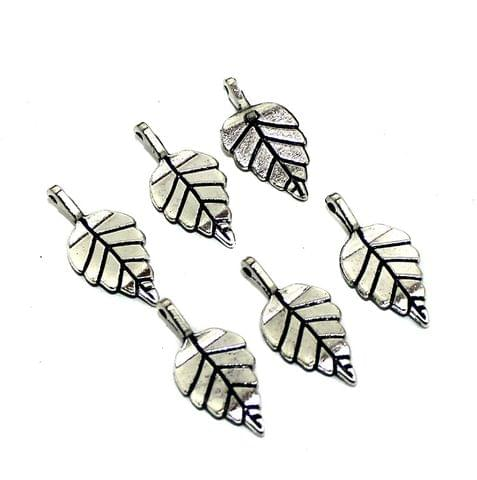 20 Pcs German Silver Leaf Charms 26x13mm