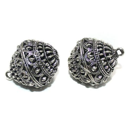 2 Pcs German Silver Ghungroo Ball Beads 33x27mm