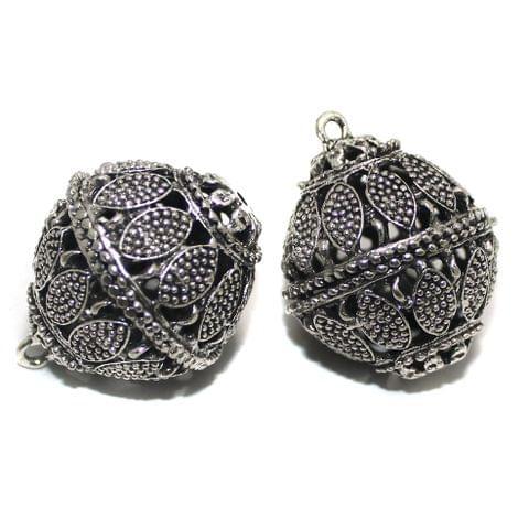 2 Pcs German Silver Ghungroo Ball Beads 35x29mm