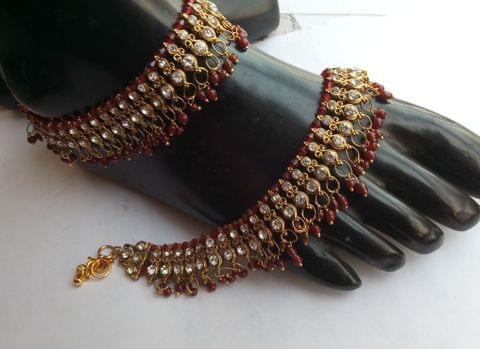 Anklet Payal Maroon Gold Tone Wedding Bridal Indian Bollywood