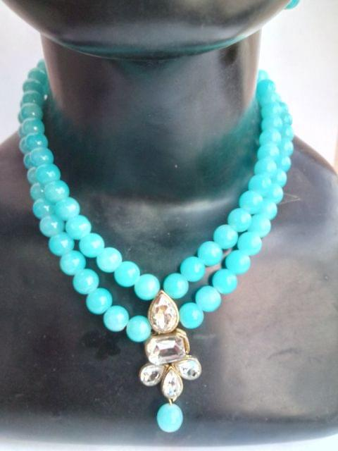 New Year  Blue  Beaded Kundan Jewelry set Earrings Fashion Indian