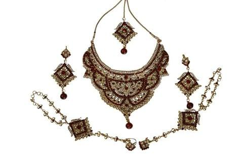 Red Navratri Diwali Gold Tone Jewelry Set Indian Kundan Bollywood 6 Pcs