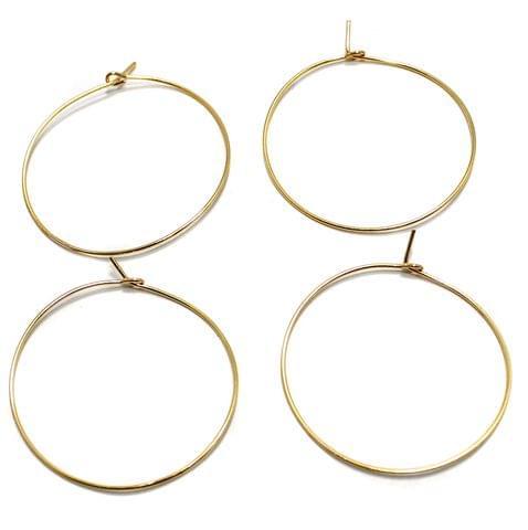 25 Pair Earring Component Golden 35 mm