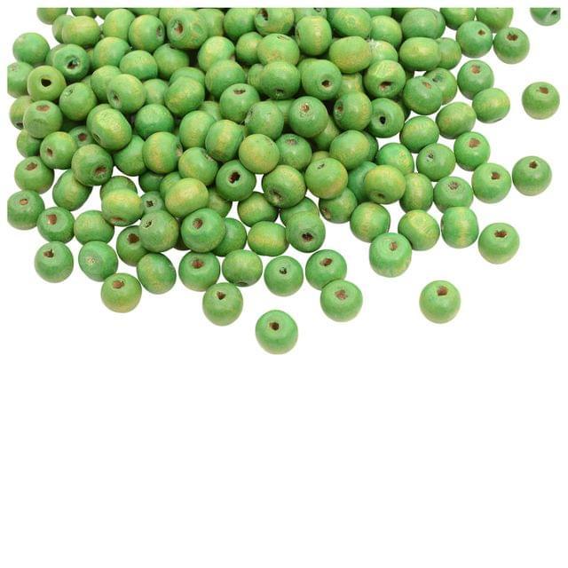 Green Circular Wooden Beads- 100 Pieces