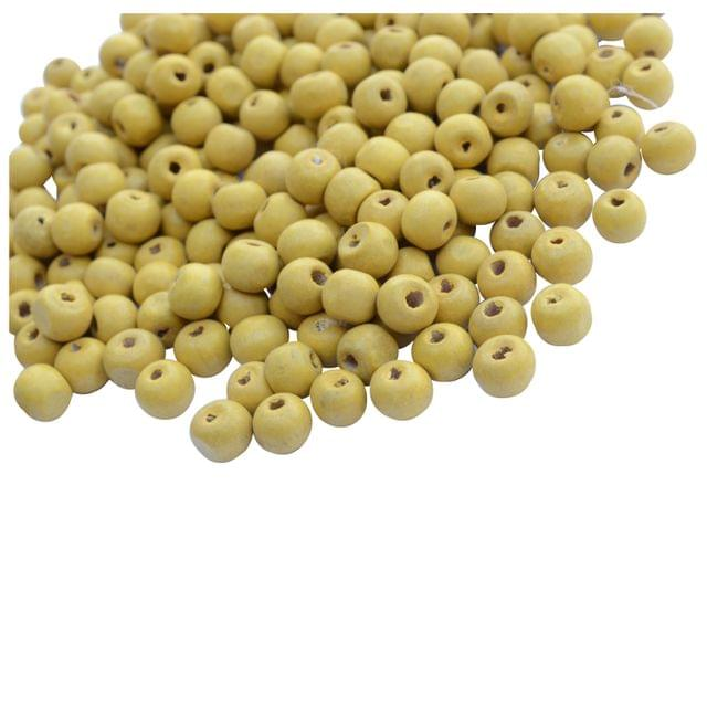 Yellow Circular Wooden Beads- 100 Pieces