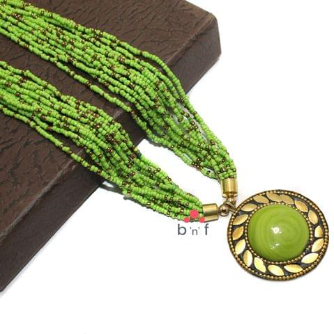 Seed Beads Necklace Parrot Green With Tibetan Pendant