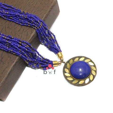 Seed Beads Necklace Blue With Tibetan Pendant
