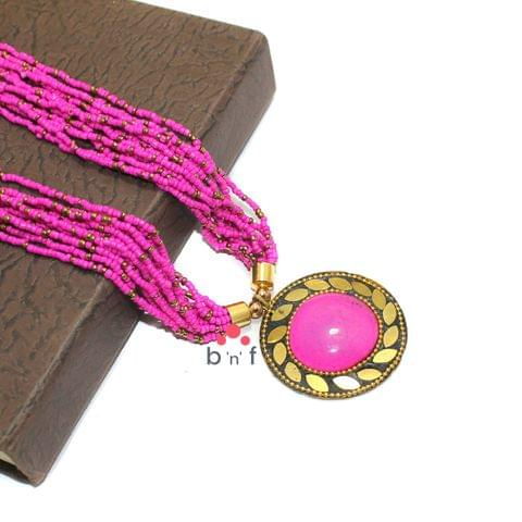 Seed Beads Necklace Pink With Tibetan Pendant