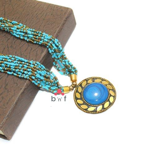 Seed Beads Necklace Turquoise With Tibetan Pendant