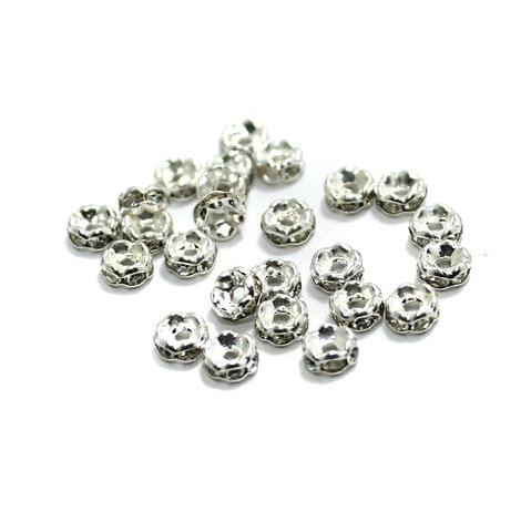 100 Pcs Rhinestone Disc Spacer Beads 4x2mm Silver
