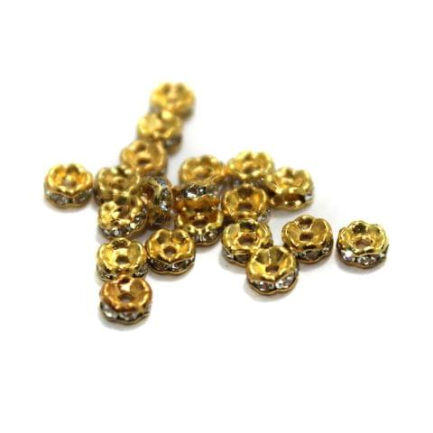 100 Pcs Rhinestone Disc Spacer Beads 4x2mm Golden