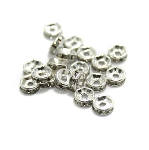 100 Pcs Rhinestone Disc Spacer Beads 6x2mm Silver