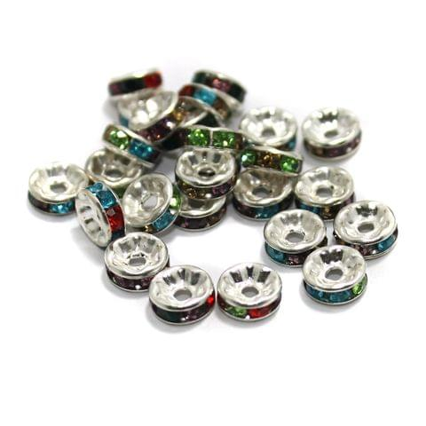 100 Pcs Rhinestone Disc Spacer Beads 8x3mm Silver