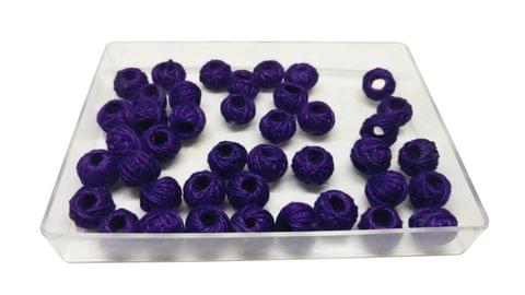 Aumni Crafts Handmade Cotton Thread Beads Ball For Jewellery Making 13x10mm Drum (Pack of 50 pieces) [Color 3-> Purple]