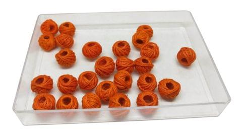 Handmade Cotton Thread Beads Ball For Jewellery Making 13x10mm Drum (Pack of 50 pieces) [Color 9-> Orange]