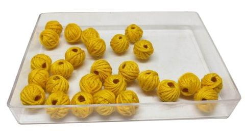 Aumni Crafts Handmade Cotton Thread Beads Ball For Jewellery Making 13x10mm Drum (Pack of 50 pieces) [Color 11-> Yellow]