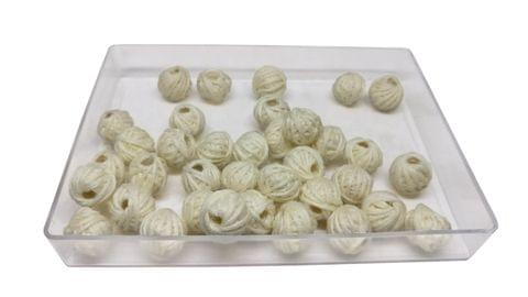 Aumni Crafts Handmade Cotton Thread Beads Ball For Jewellery Making 13x10mm Drum (Pack of 50 pieces) [Color 13-> Cream White]