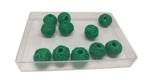 Aumni Crafts Handmade Cotton Thread Beads Ball For Jewellery Making 13x10mm Drum (Pack of 50 pieces) [Color 20-> Dark Green]