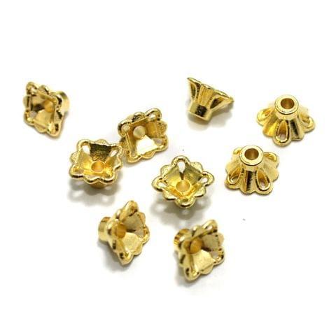 200 Pcs Acrylic Bead Caps Golden 8x5mm
