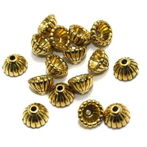 200 Pcs Acrylic Bead Caps Golden 9x5mm