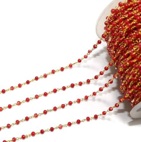 1 Mtr Glass Beaded Chain Red
