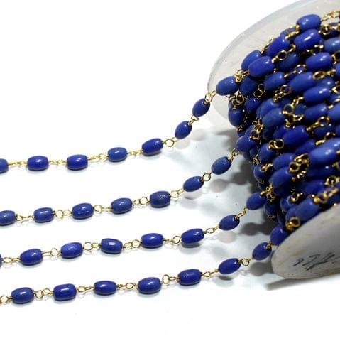 5 Mtrs Glass Beaded Chain Blue