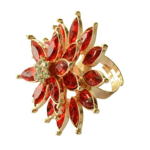 Foppish Mart Royal Triple layered Ruby Red Cocktail Ring For Women