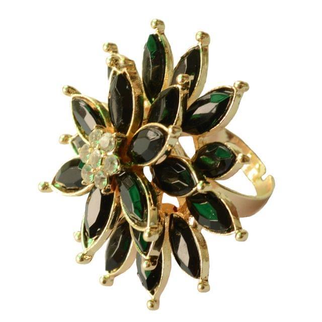 Foppish Mart Eye-Catching Triple layered Black Cocktail Ring For Women