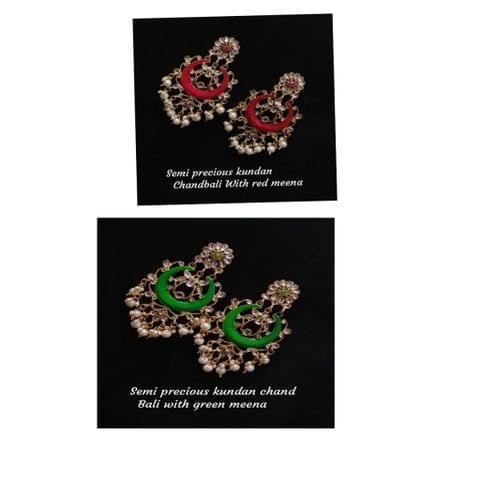 Costume Jewelry Set Indian Kurwalchute  Gold Tone Earrings Jhumki Jhumka Multi Colored Stones.