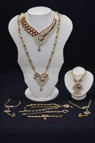 kurwachute Red  Indian-  Wedding-bridal-gold-tone-jewelry-set-earrings-costume-indian-bollywood.8 Pce  Bridal set