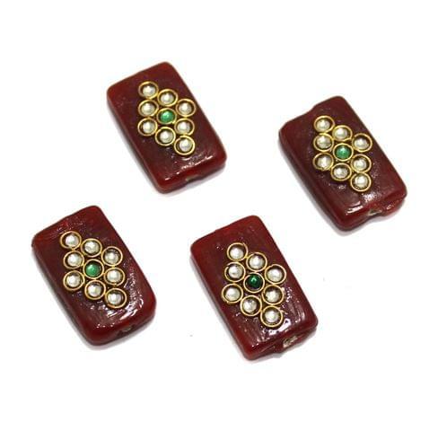 10 Pcs Rectangle Kundan Beads 25x14mm Maroon