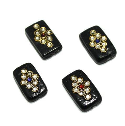 12 Pcs Rectangle Kundan Beads 25x14mm Black