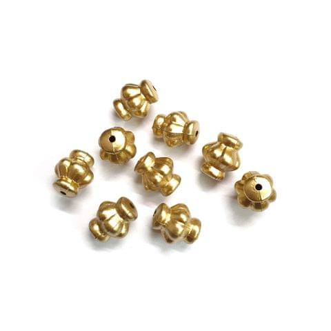 30 pcs, acrylic 12mm golden flower pot shape beads with full hole