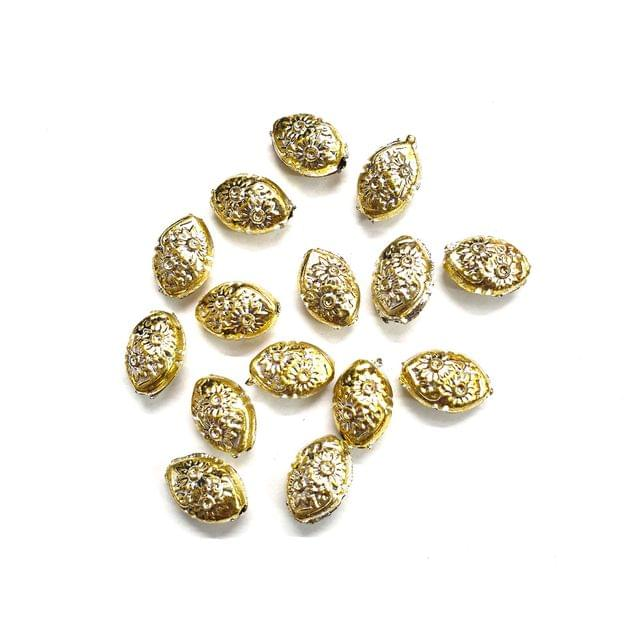 40 pcs, acrylic 10mm floral design oval shape beads with full hole